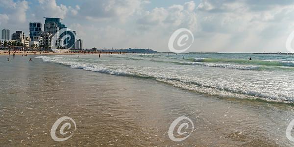 Sand, Surf, Bathers and Hotels on Tel Aviv Beach