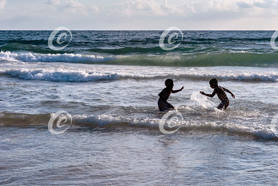 Two Boys in a Water Fight