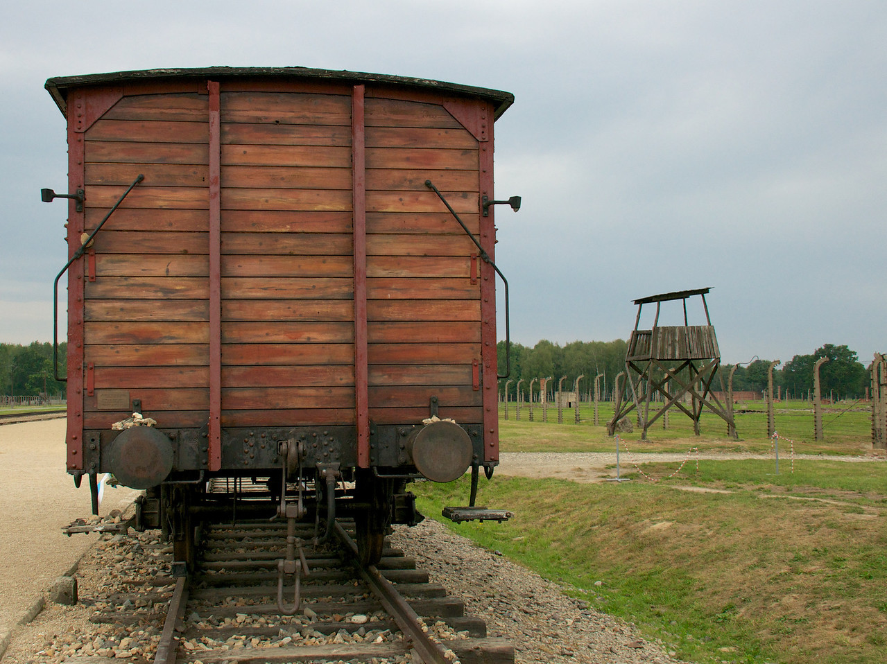 The freight car has been placed here to commemorate the Jews deported form Hungary who were murdered by German Nazis at Auschwitz-Birkenau.