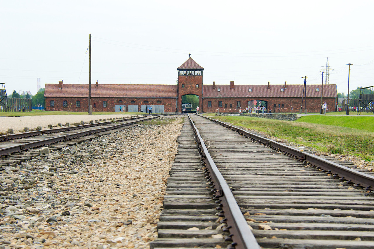 Birkenau station… rail cars would have come through the gate and down this track.