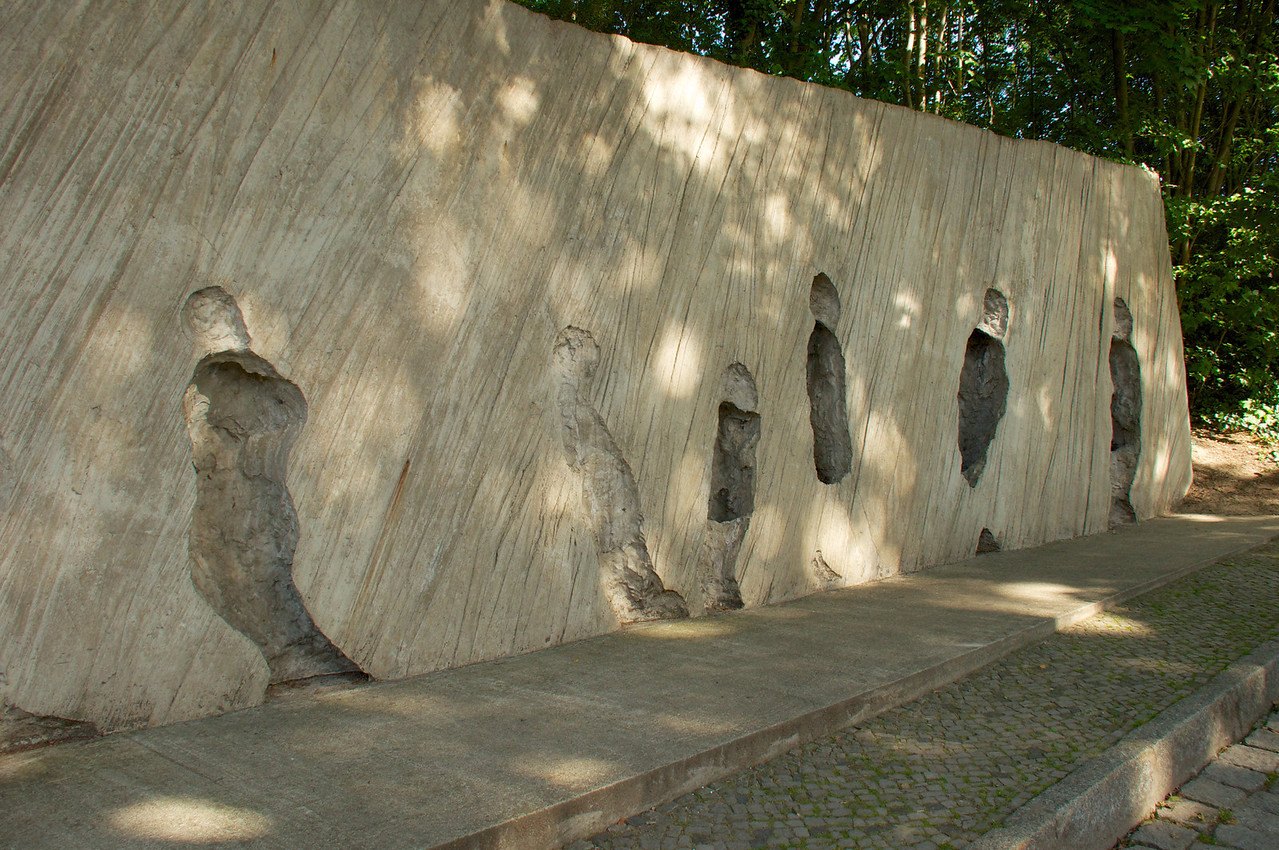 Second Monument leading to Platform 17… The recesses in the wall are representations of the people who were transported from here and the void left behind.