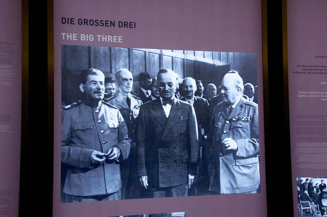 "Picture of the ""Big Three"" (Stalin, Truman, Churchill)."