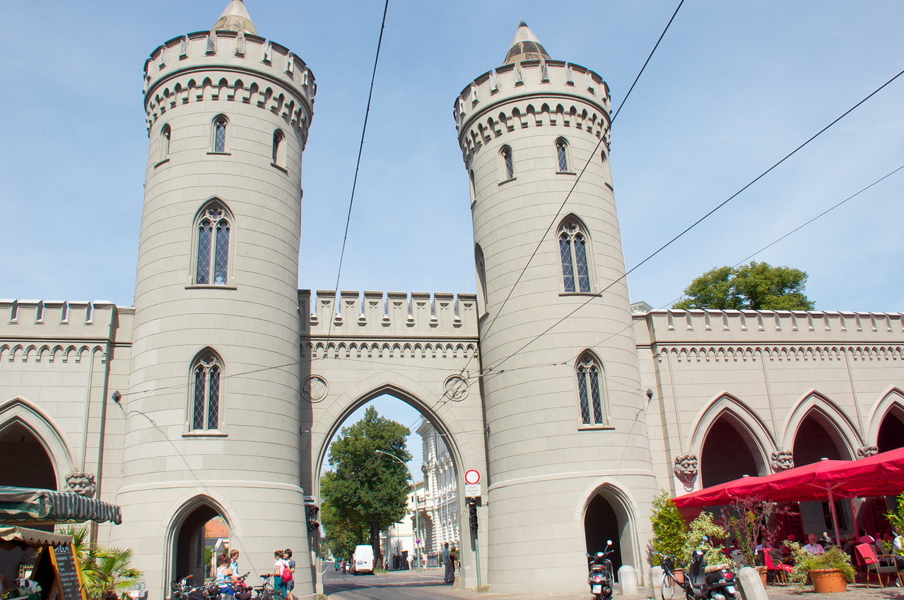 Nauen Gate, inside looking out Local market around the gate area.
