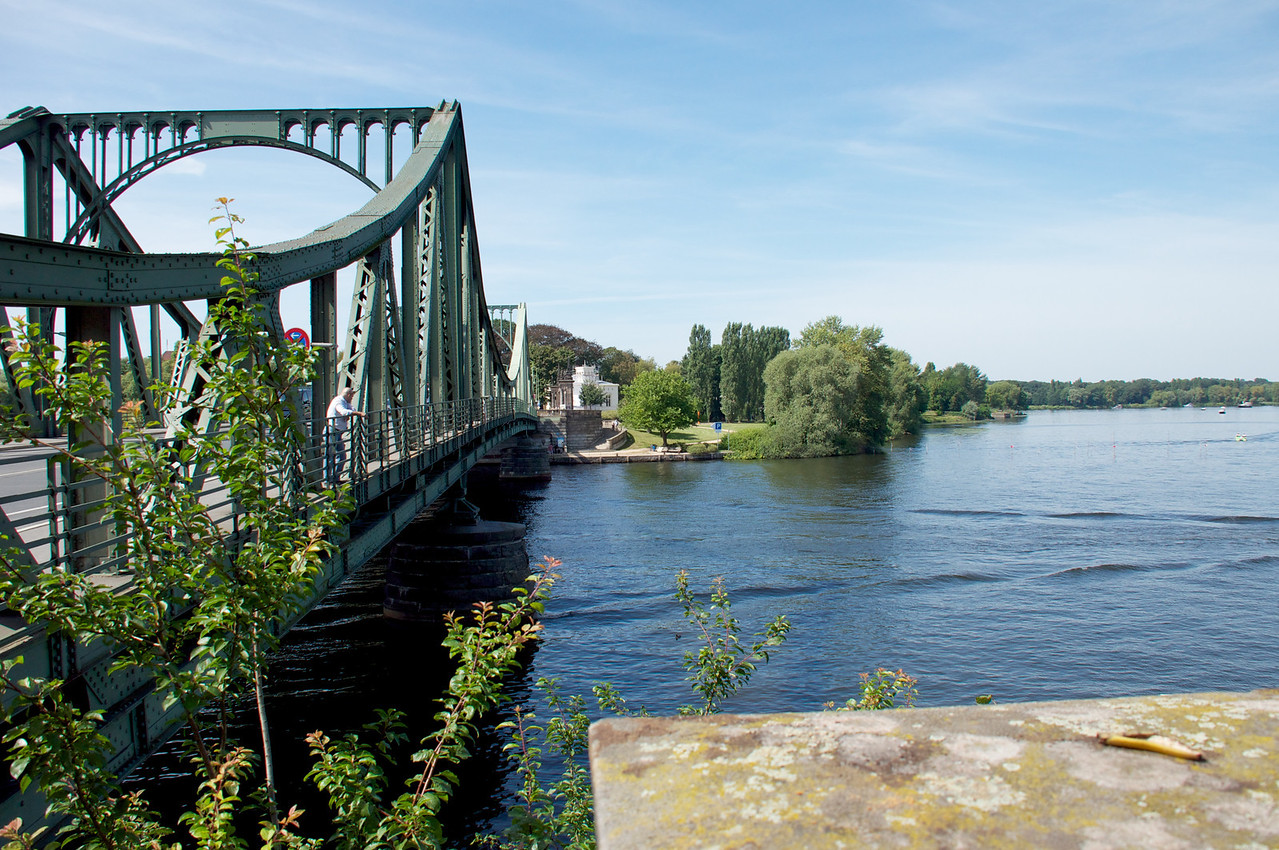 The Glienicke Bridge (German- Glienicker Brücke) is a bridge on the edge of Berlin that spans the Havel River to connect the cities of Potsdam and Berlin near Klein Glienicke.