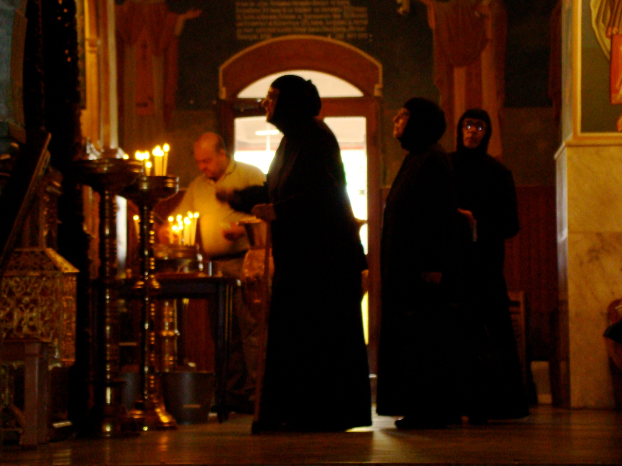 Nuns in Front of Altar Screen-Greek Church of Annunciation