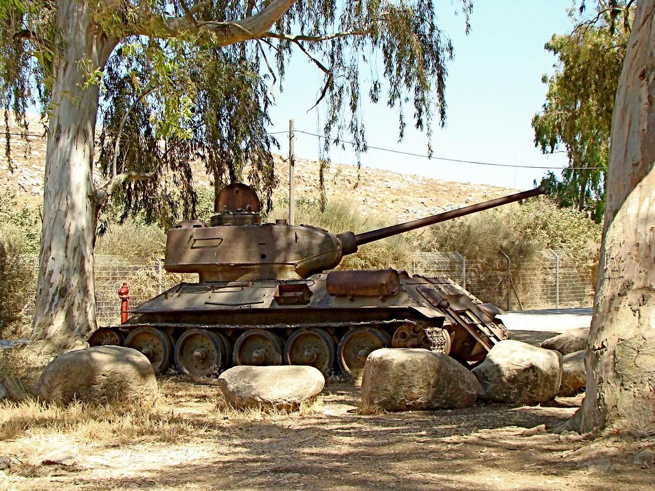 Metulla-Israeli Tank, Border Fence, Lebanon in Background