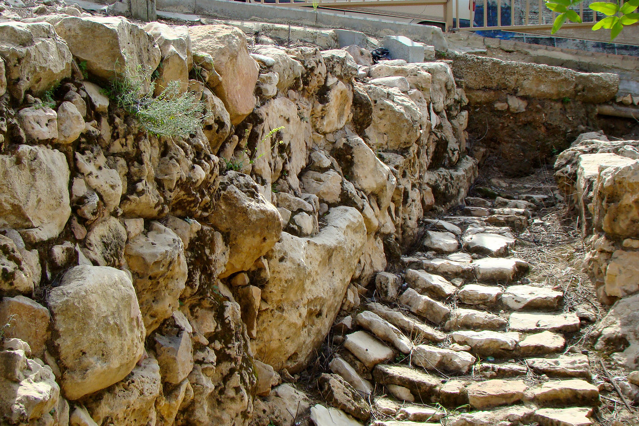 High Wall 4500 years old (time of Noah), Short Wall 3700 years old (time of Abraham), Stones in middle original stairs to the city 4,000 old
