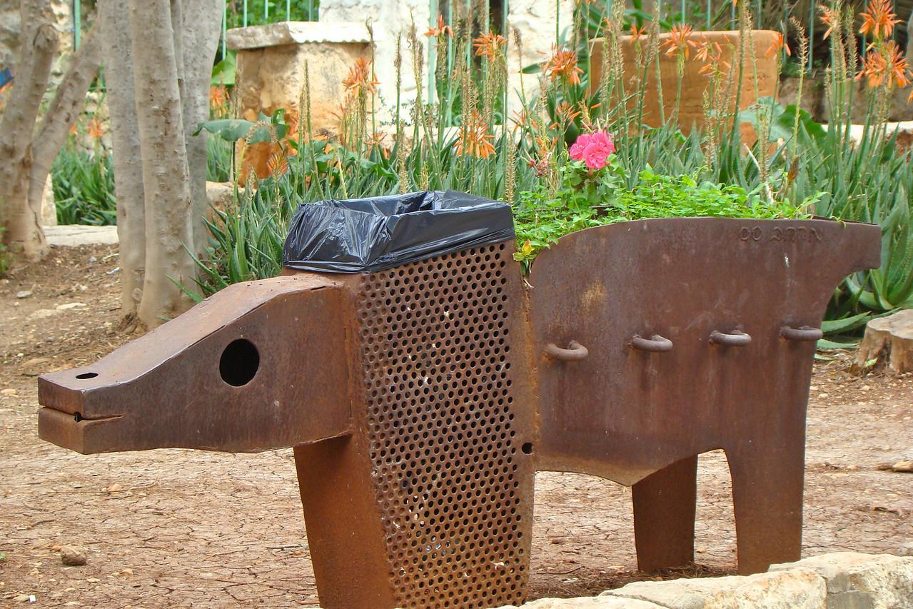 Ein Hod-Trash Canister & Planter Sculpture