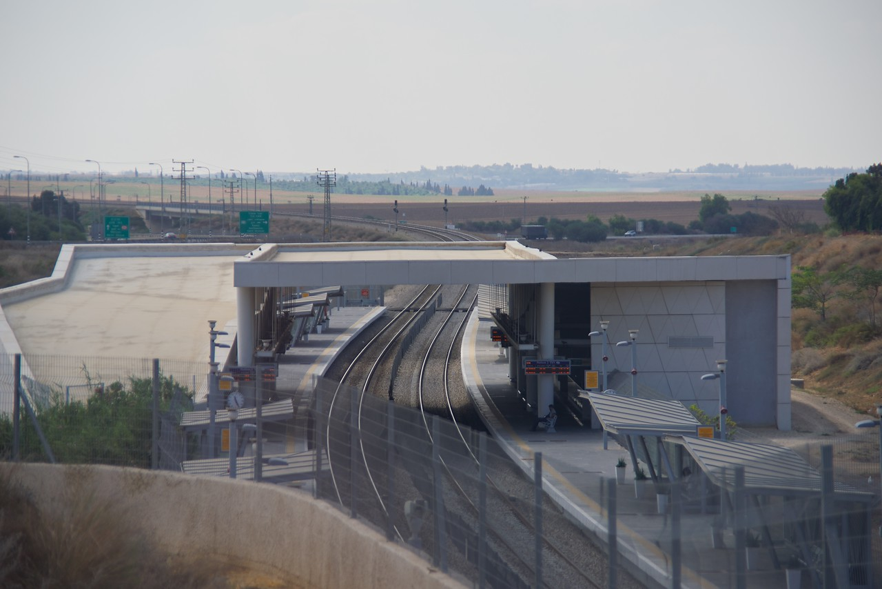 Fortified train station in Sderot. (from the bus)