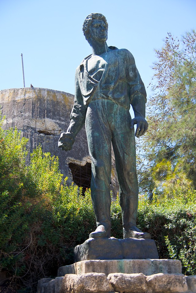 Memorial to Mordechai Anielewicz next to the destroyed water tower at Kibbutz Yad Mordechai (named for Anielewicz).