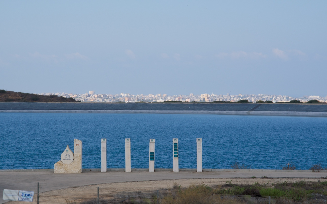 Nir Am Reservoir with Gaza behind it.
