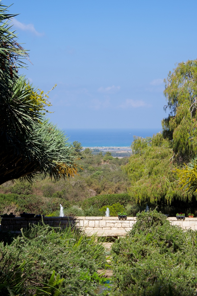 The gardens are designed to provide beautiful views of the remarkable landscape across the flat coastal plain to the Mediterranean.