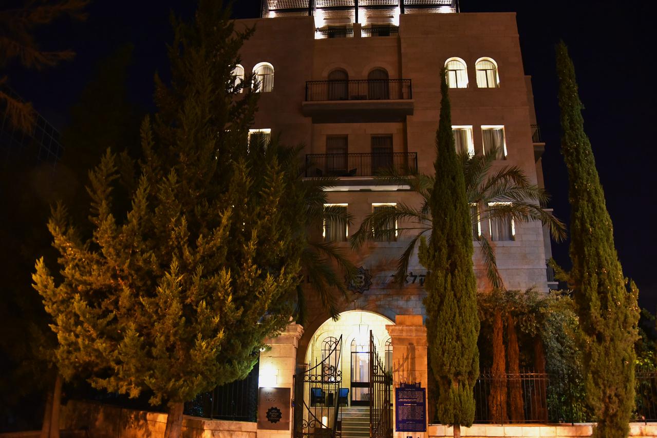 Front of Bay Club Hotel at night. (Haifa)