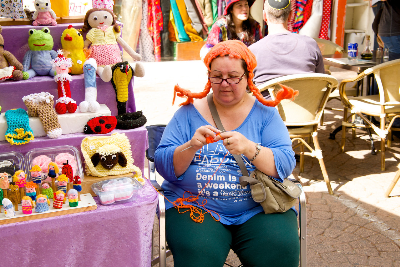 Artist Knitting More Goods