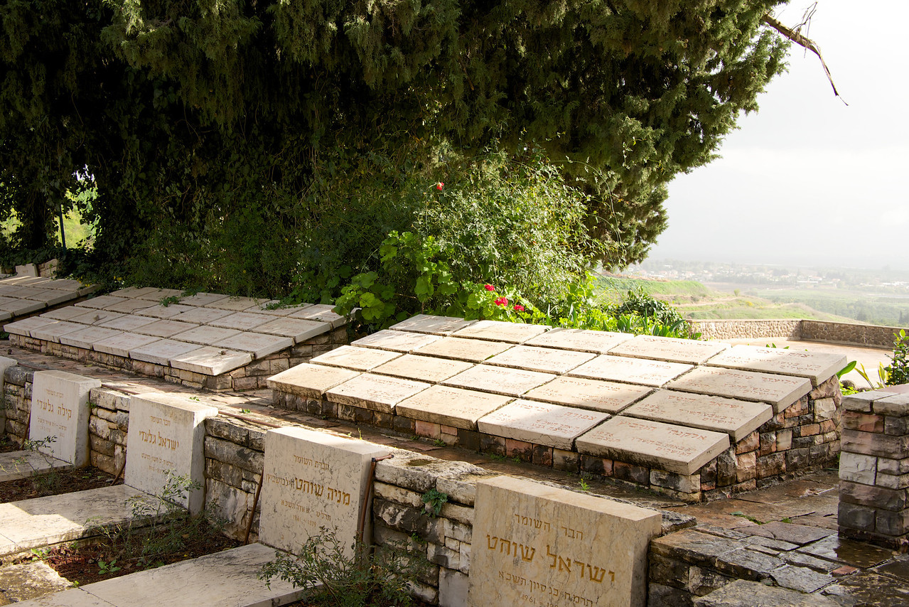 HaShomer Cemetery at Tel Hai  Stones at top represent members of HaShomer who were buried in their home settlements
