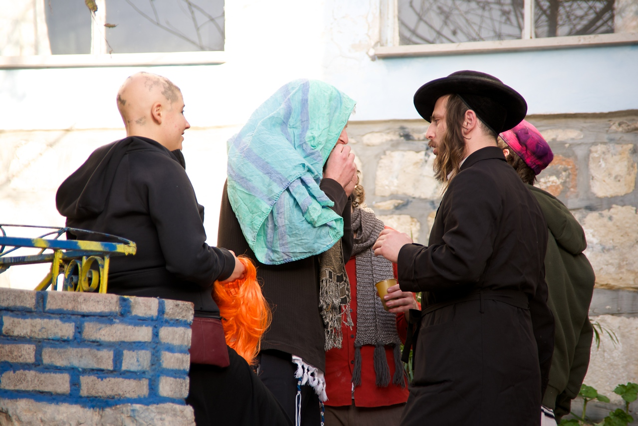 Partyers in Tsfat on Purim