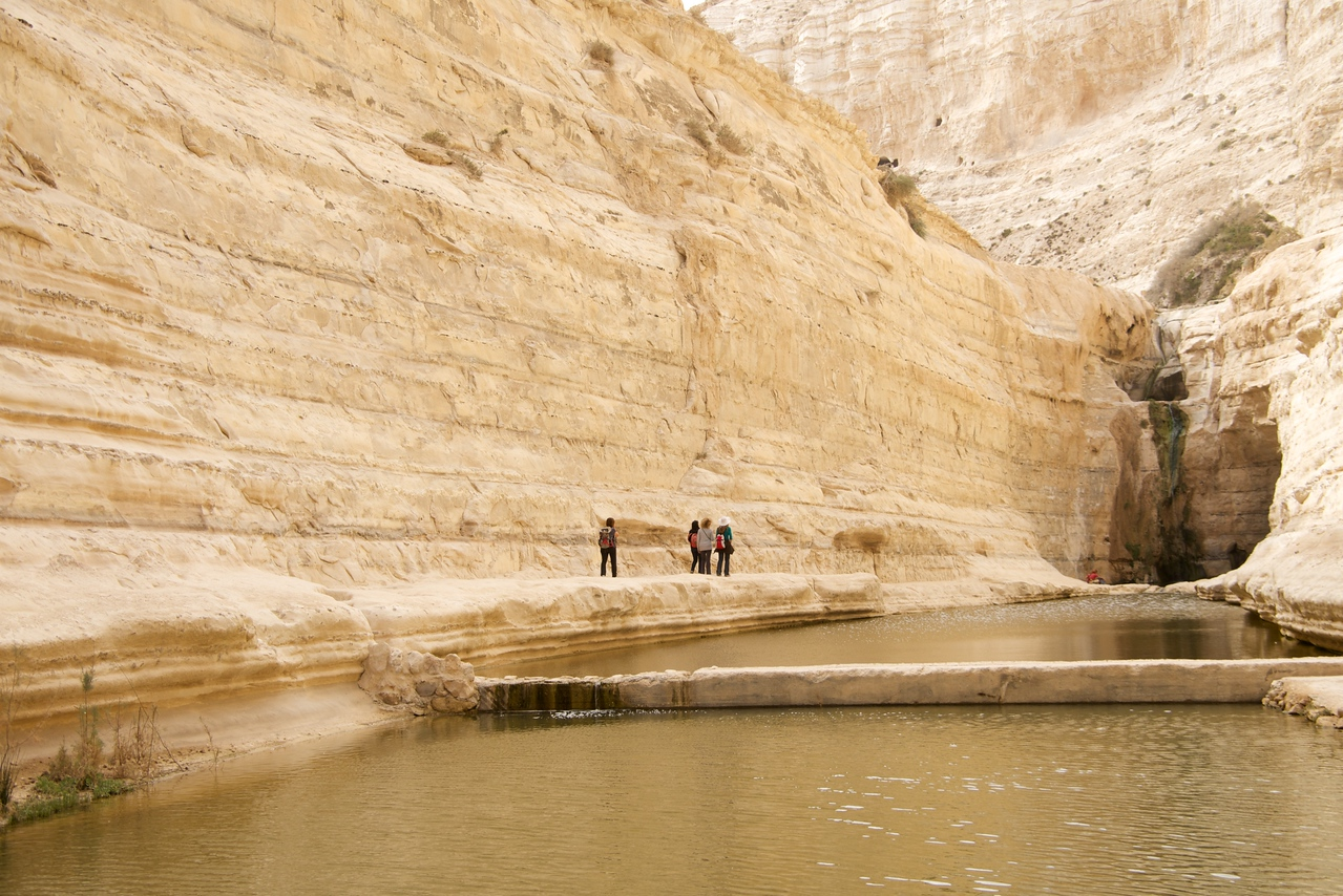 Size of People Gives Some Clue The Height of Cliffs in The Canyon  Path Around Ein Avedot Waterfall