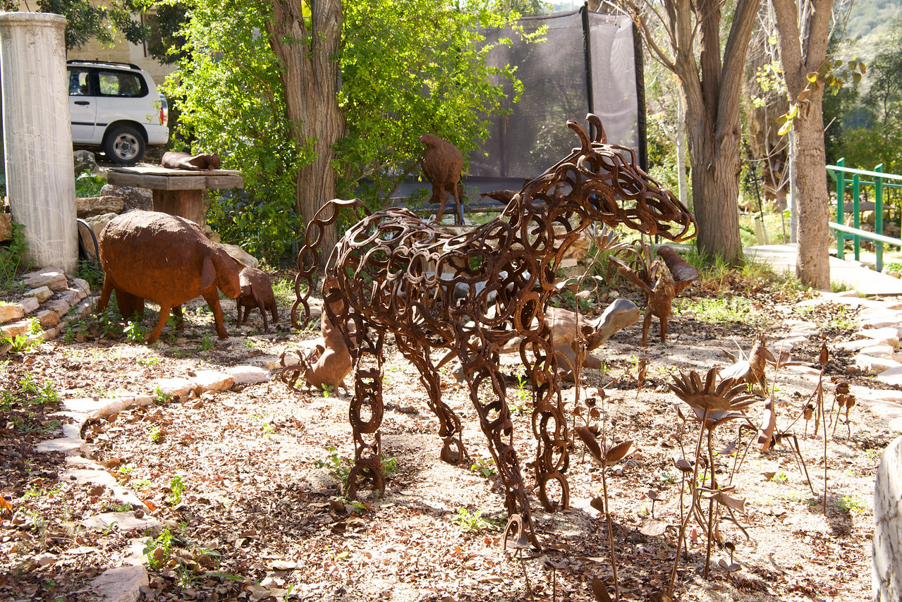 Horse Sculpture Made of Hose Shoes