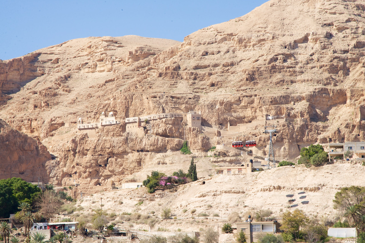 The Monastery of the Temptation is an Orthodox Christian monastery located in the West Bank, along a cliff overlooking the city of Jericho and the Jordan Valley