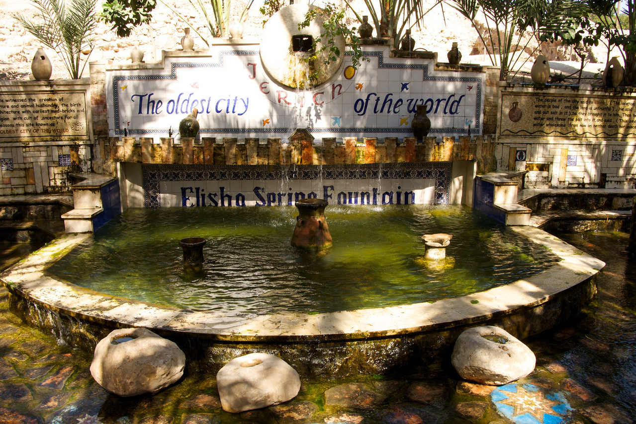 As part of the Tel es-Sultan is the Elisha's Spring Fountain, by which Jericho was once supplied with water  It still exists and continues to provide plentiful supplies of water   The fountain is shaded by a large fig tree  Enough water flows