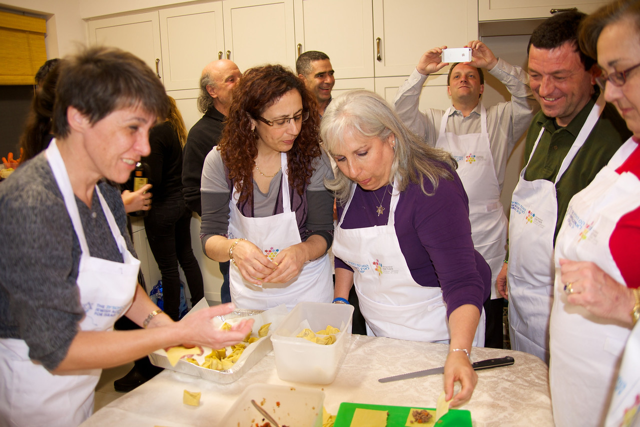The Group Making Tortellini Which Will Be Cooked For Part of Our Dinner