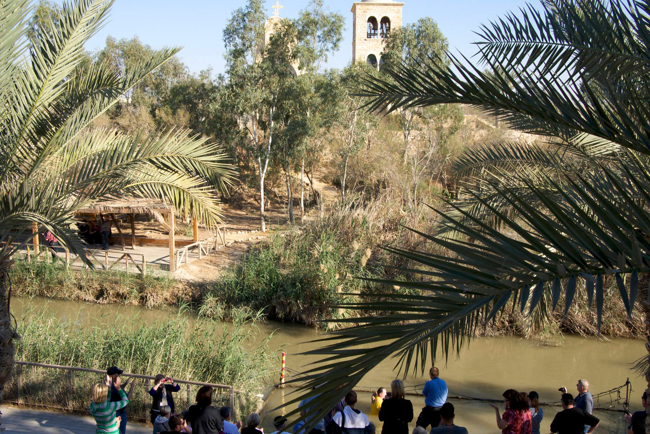 Looking Out from Israeli Side Viewing Stand at Jordan River Baptismal Qasar El-Yahud  Jordan is Across The River