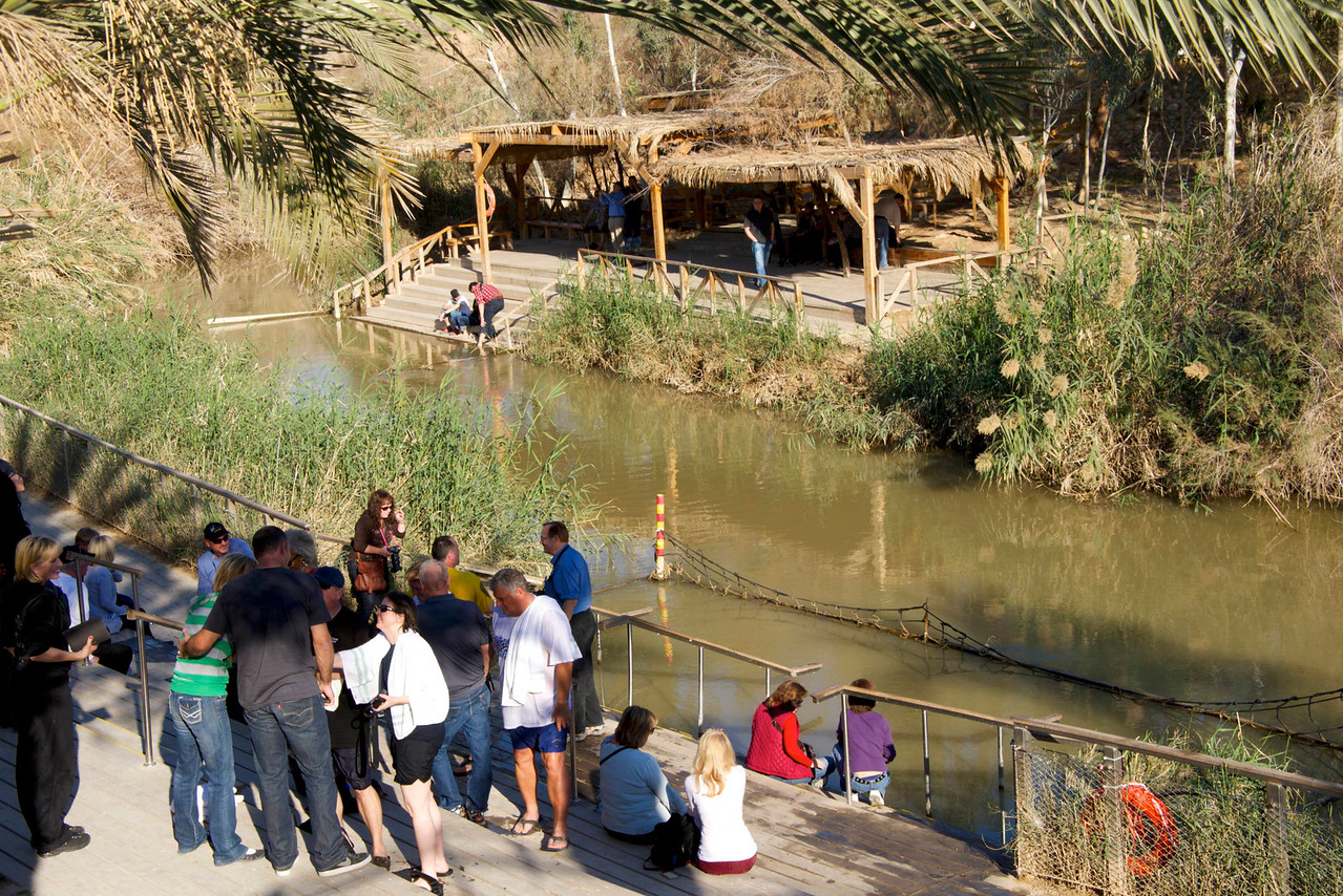 Qasar El-Yahud Batismal Site on Jordan River  Israeli Batismal at Bottom Forefront  Jordan's Baptismal Area at Top Left