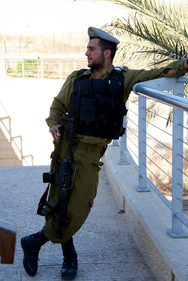 One of Two Israeli Soldiers Guarding The Jordan River Baptismal Site, Quasar El-Yahud