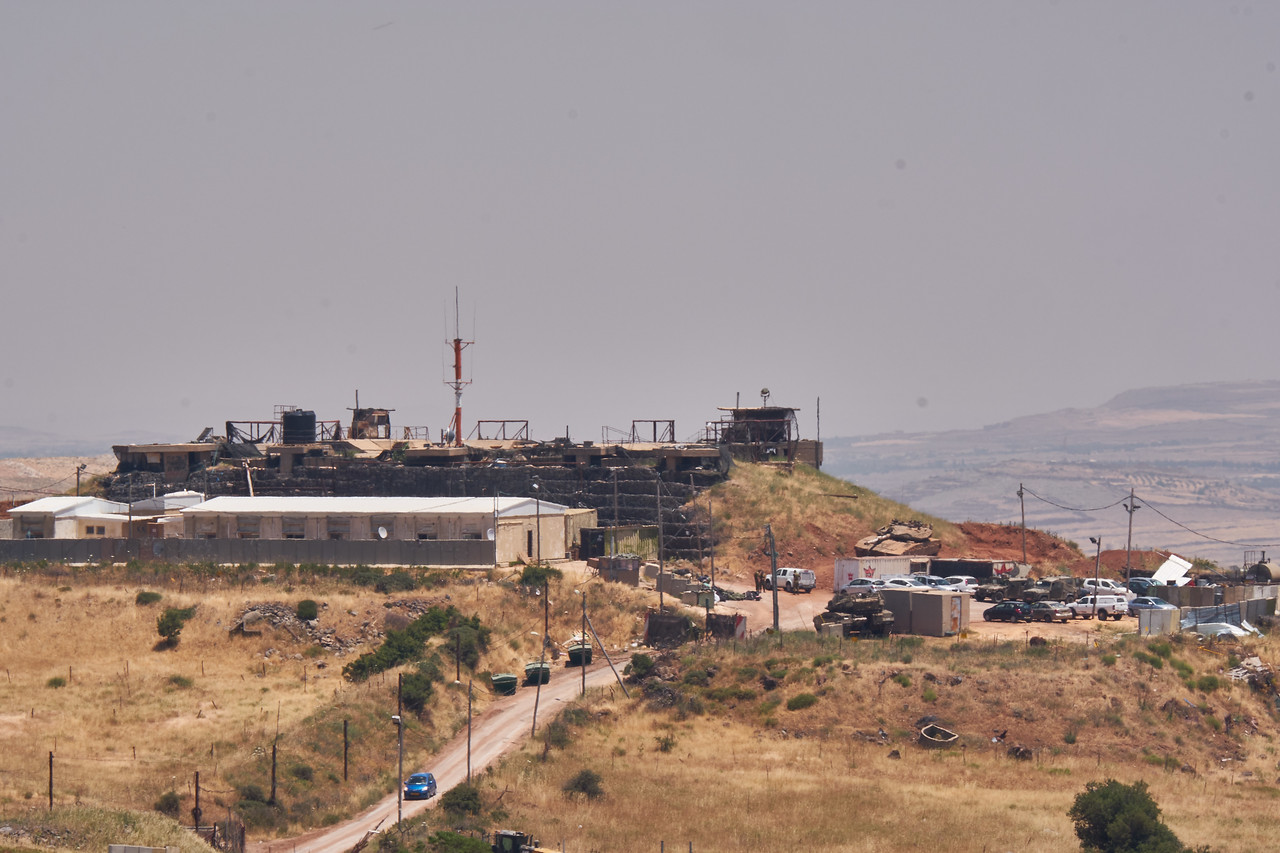 Israeli army base on Syrian border.