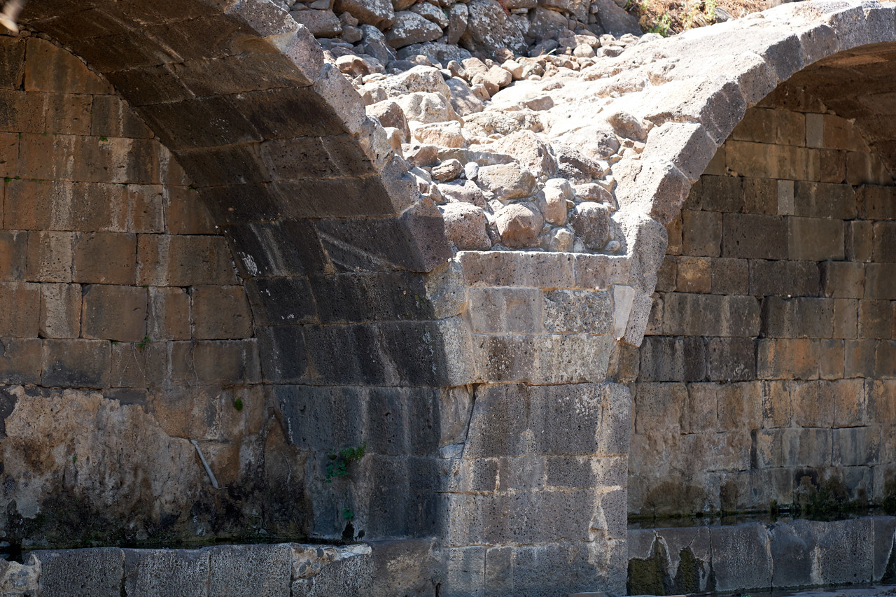 Restored Arches and water reservoirs at Um El Kanater. Area where linen was produced.