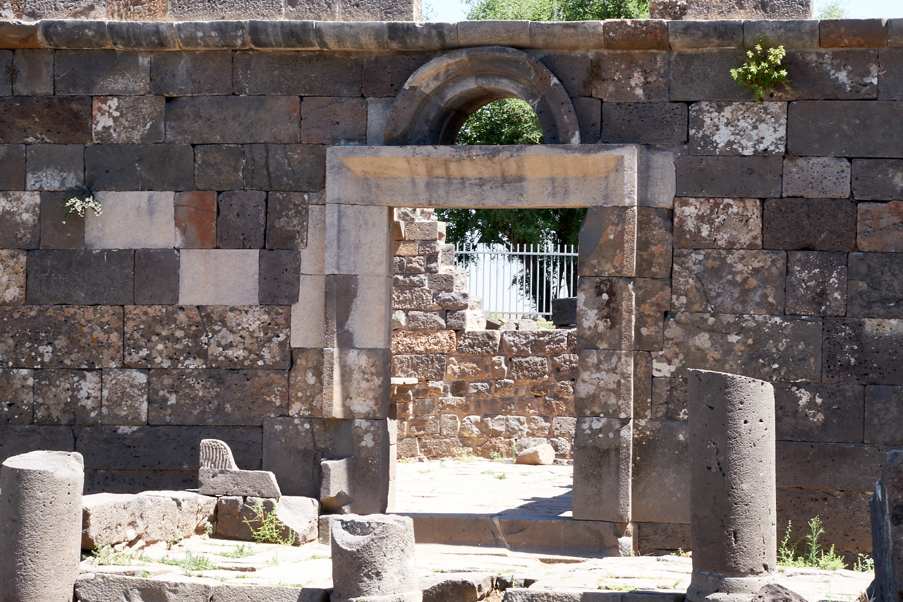 Entrance to restored Um El Kanater Synagogue destroyed in 749 by an earthquake.