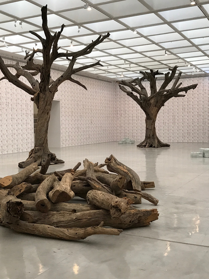 The real wood trees are another Ai Weiwei art installation.