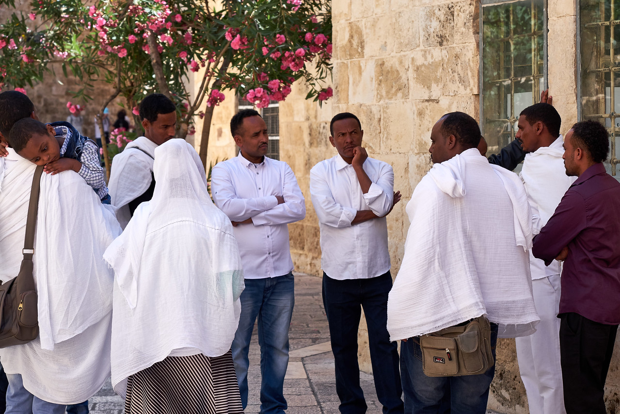An African Christian group praying in the area of King David's Tomb and Hall of Last Supper.
