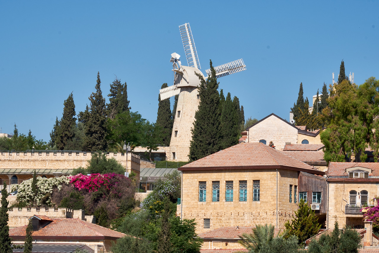 iew of Montefiore Windmill and Mishkenot Sha'ananim, first neighborhood outside the Old City walls.