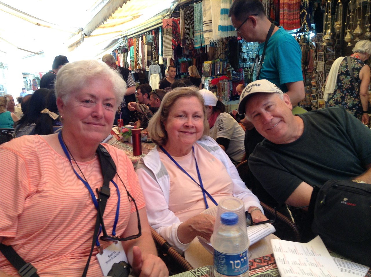 Sheryl Blechner, Wayna & Joe Dunn enjoying lunch in Christian Quarter of Old City.