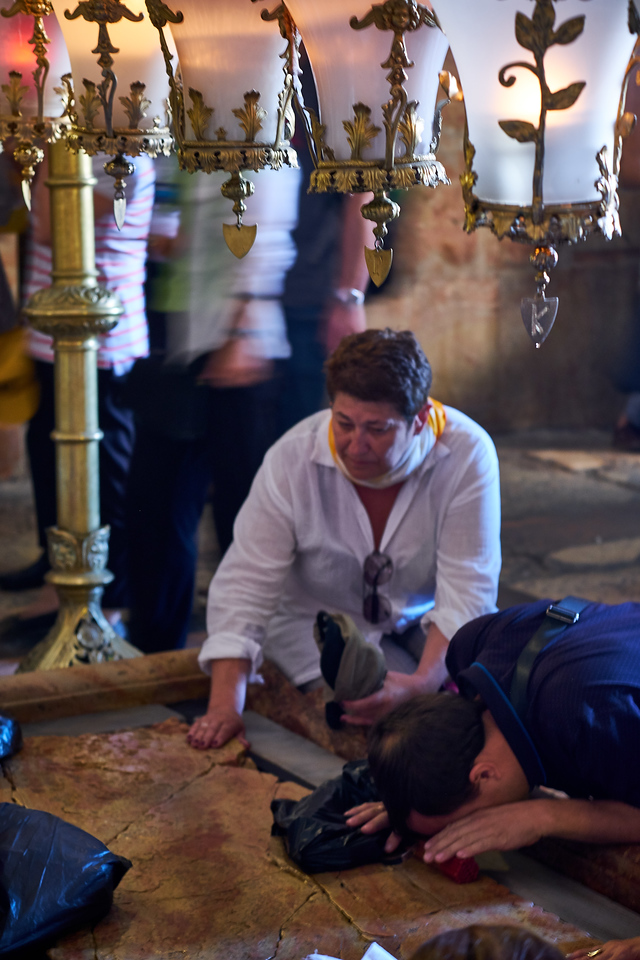 Stone of Anointing (also Stone of the Anointing or Stone of Unction), which tradition believes to be the spot where Jesus' body was prepared for burial.