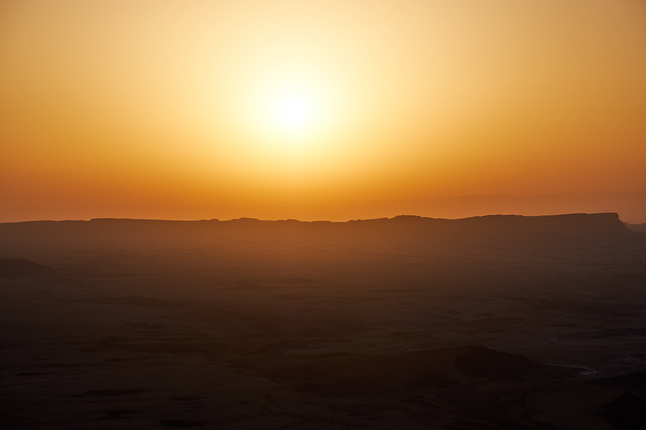 Sun coming up over Ramon Crater between 5 and 5am.