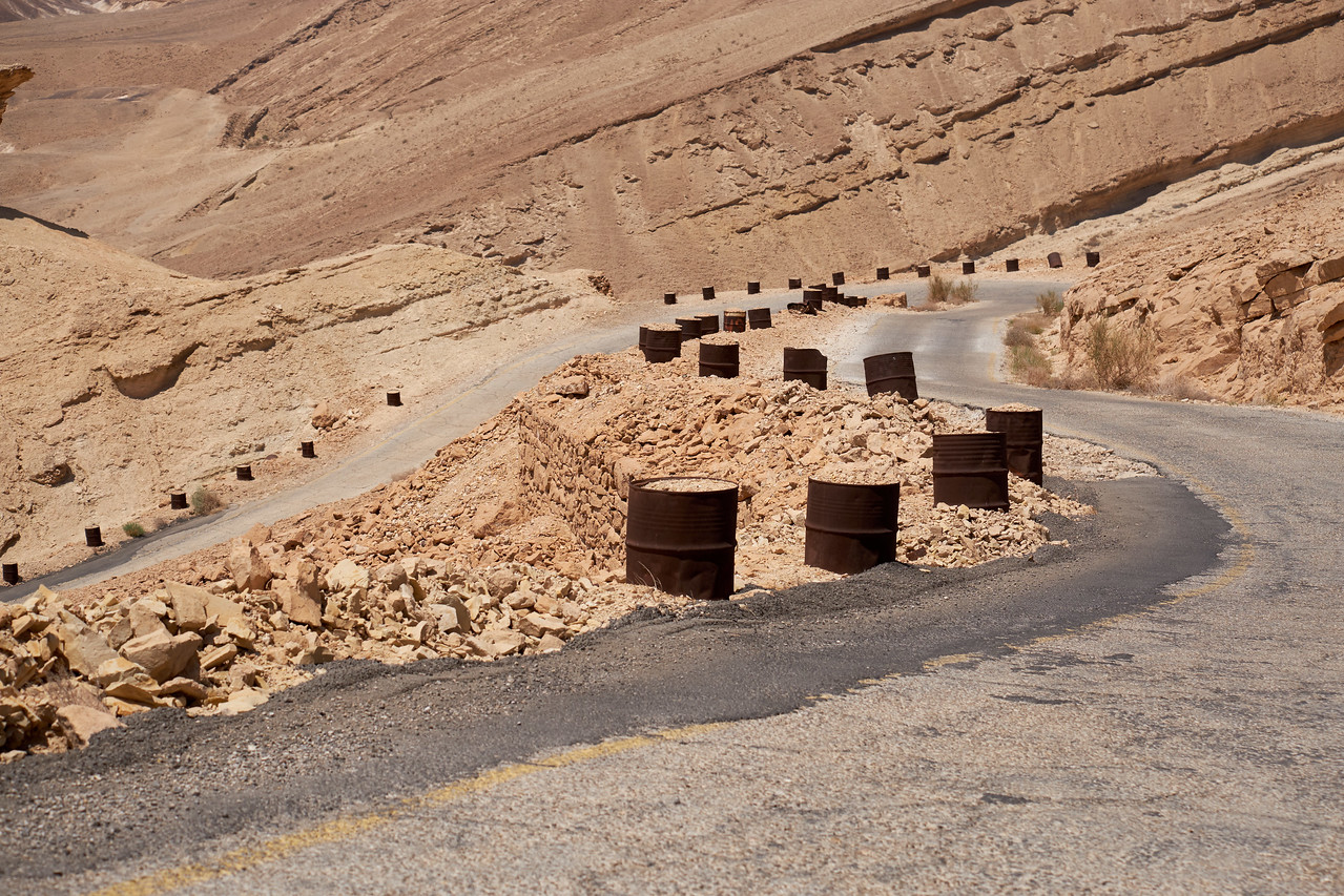 Barrels Along Scorpion Ascent are left from 1950 when the road was built.