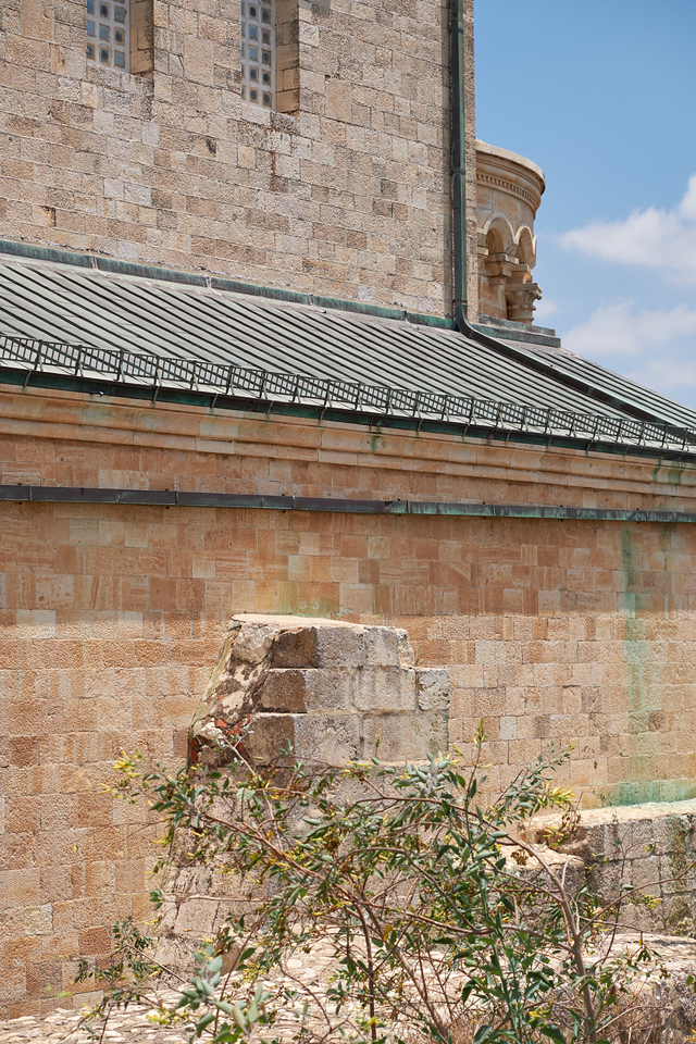 Crusader Church remains are built into the wall of the Church of Transfiguration.