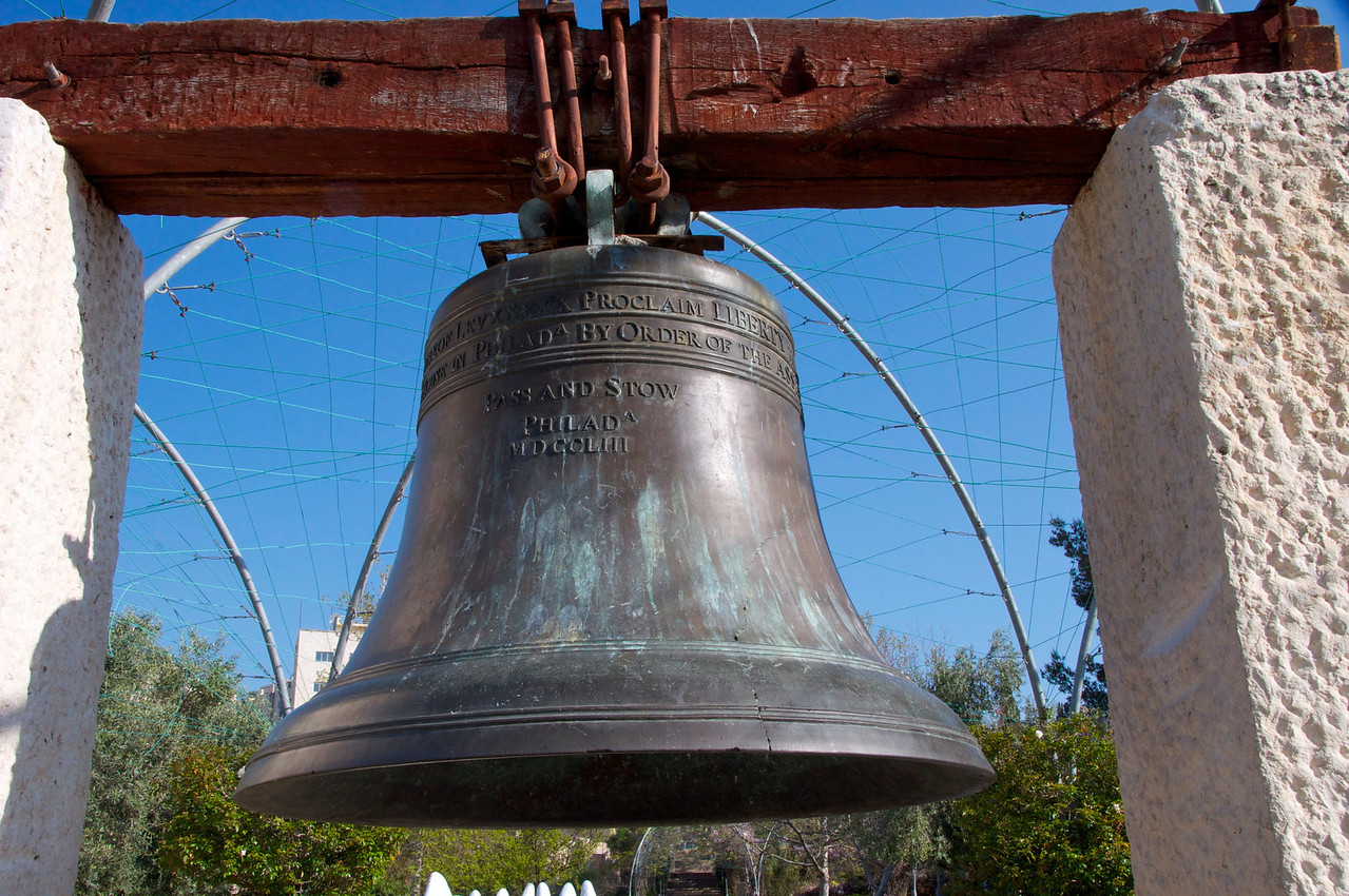 "Replica of Liberty Bell in Philadelphia (Inbal=Hebrew for Clanger)…The Inscription, ""Proclaim Liberty Throughout The Land for All Inhabitants"" based on Leviticus 25-10"
