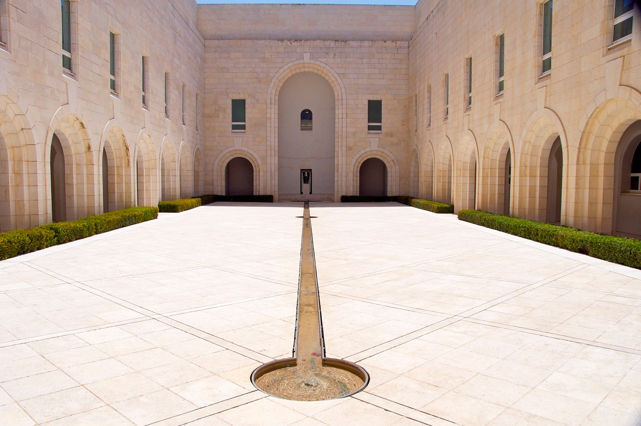"Courtyard… Windows Are Offices of Supreme Court Justices… Water Represents ""Truth Will Spring Up""… Circles at The Ends Represent Circles of Righteousness"