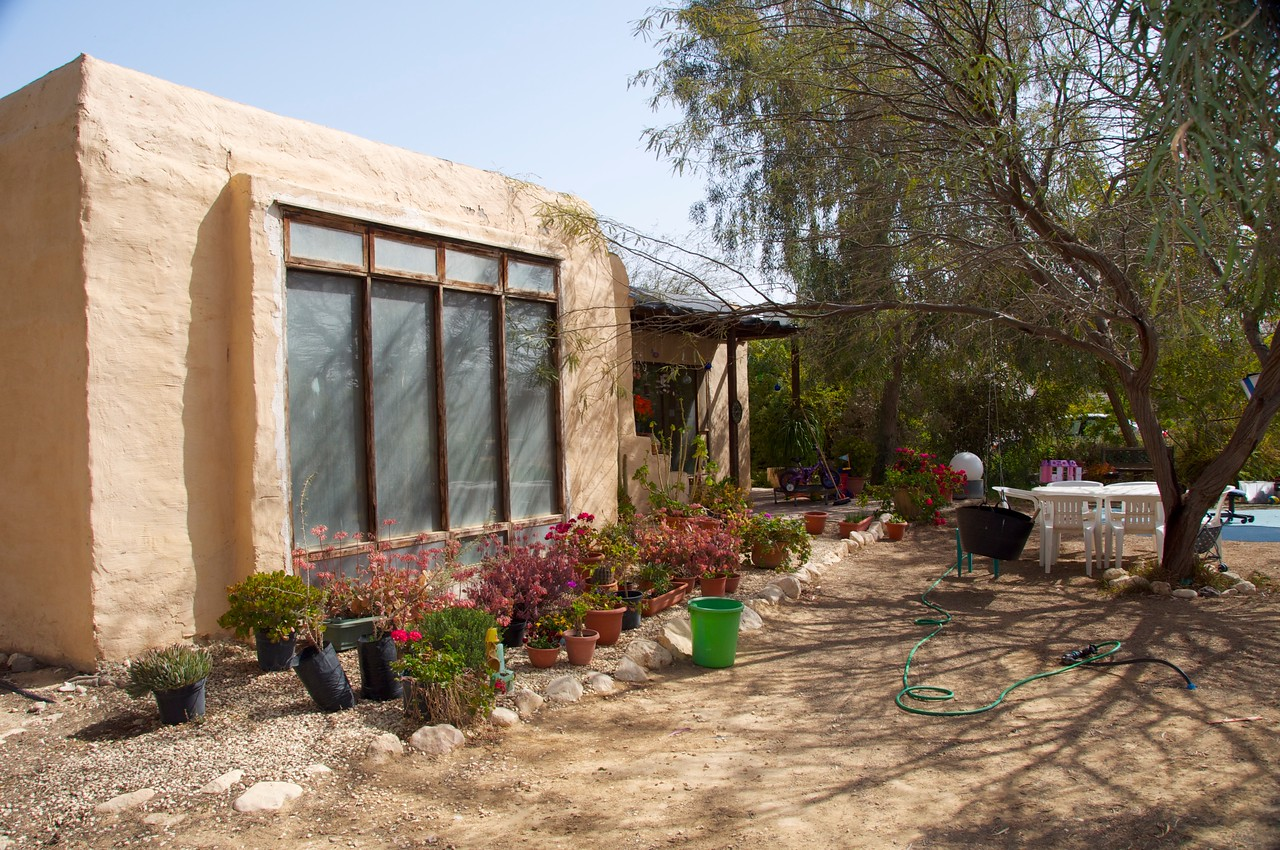 Home at Institute for Desert Studies, Midreshet Sde Boker…1st Solar Building in Israel was in 1981  (House Built of Adobe w-Raincoat…Absorbs Heat During the Day…at Night Open Windows to Get Cool Air Flow)