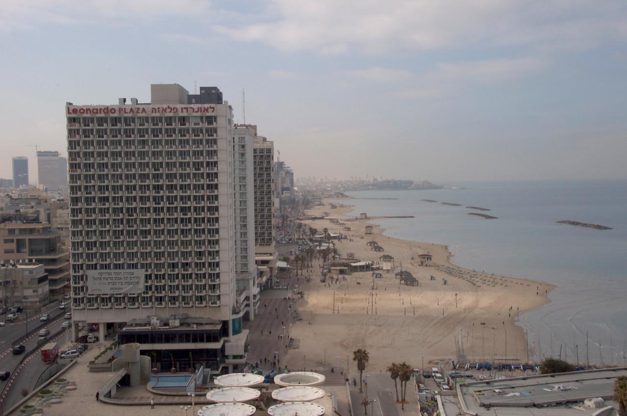 View of Tel Aviv Beach Looking Toward Jaffe from Roof Top of Carlton Hotel