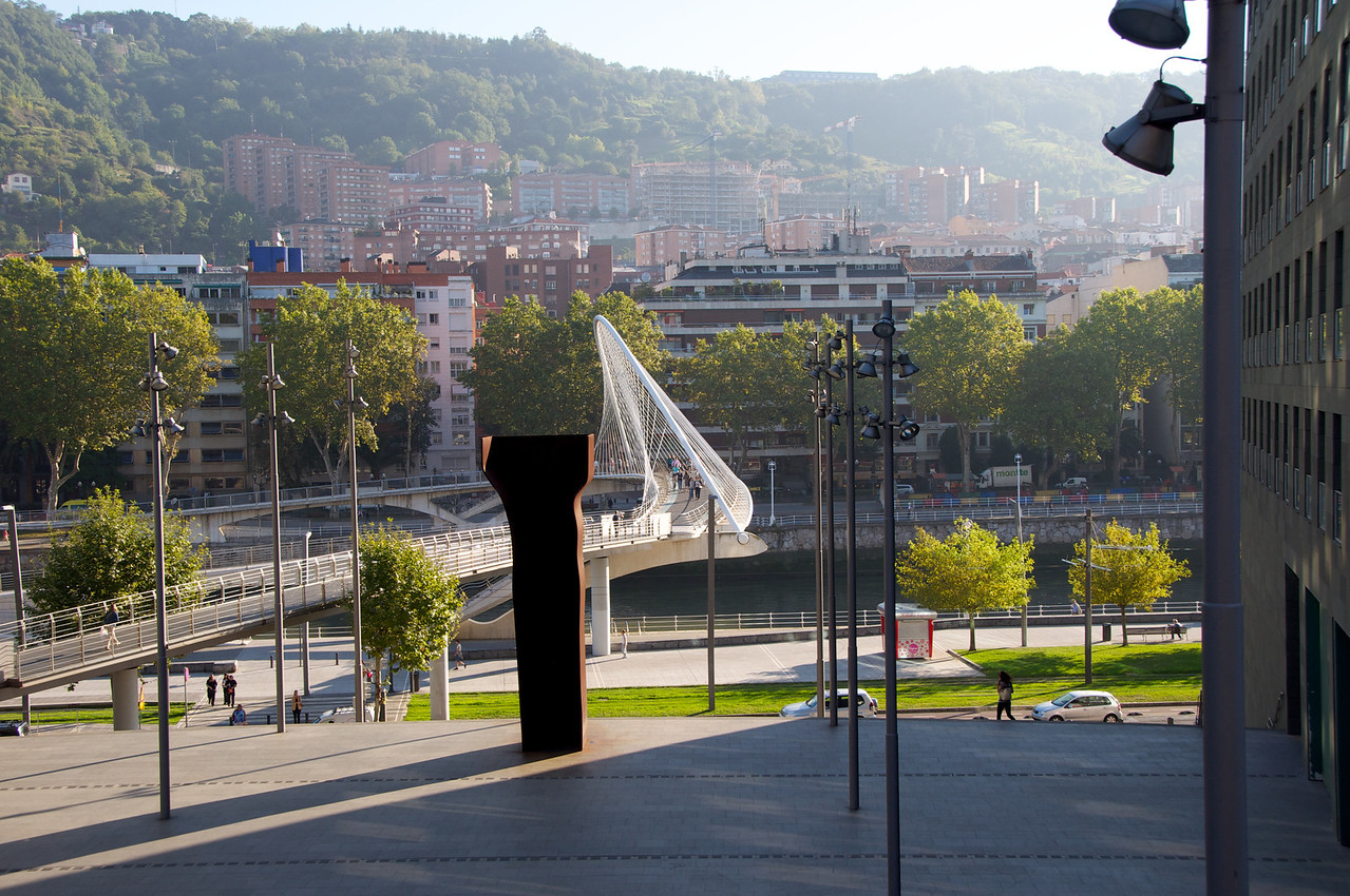 Walk From Hotel Down To The Nervion River…White Structure is A Walking Bridge
