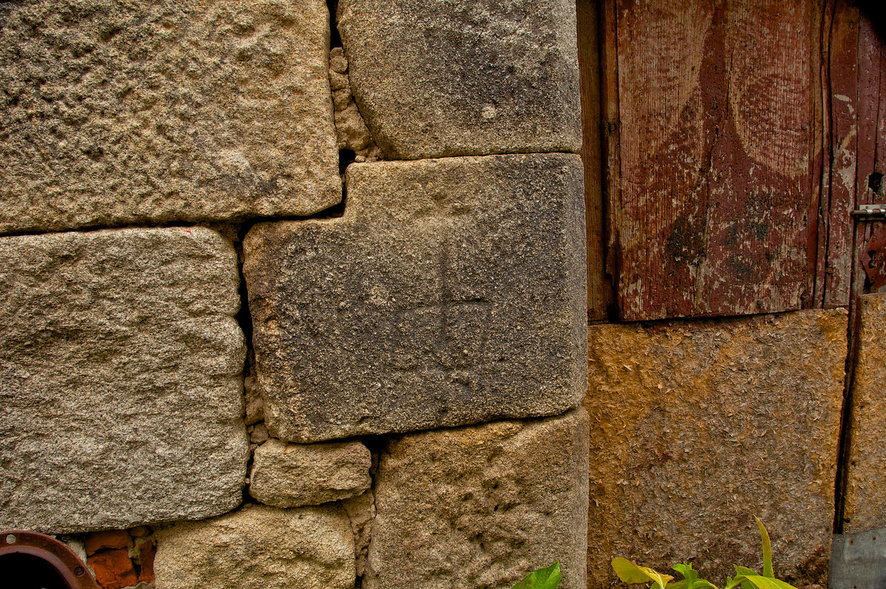 """Special """"Marranos"""" Cross Marked In The Stones of Building in What Was Once The Jewish Area"""