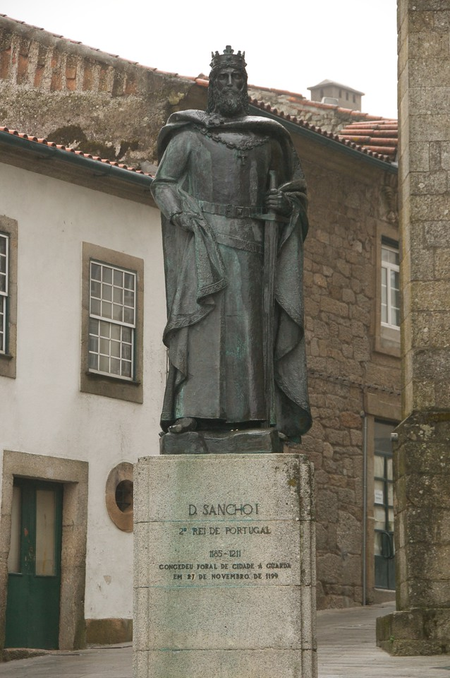 Statue of 2nd King of Portugal in Guarda Cathedral Square