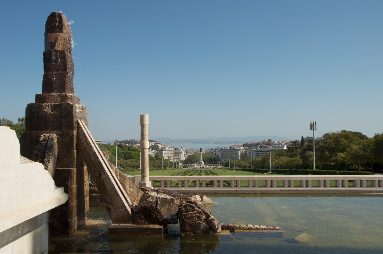 View from Top of Edward VII Garden to Targus River (Past Pombal Monument)