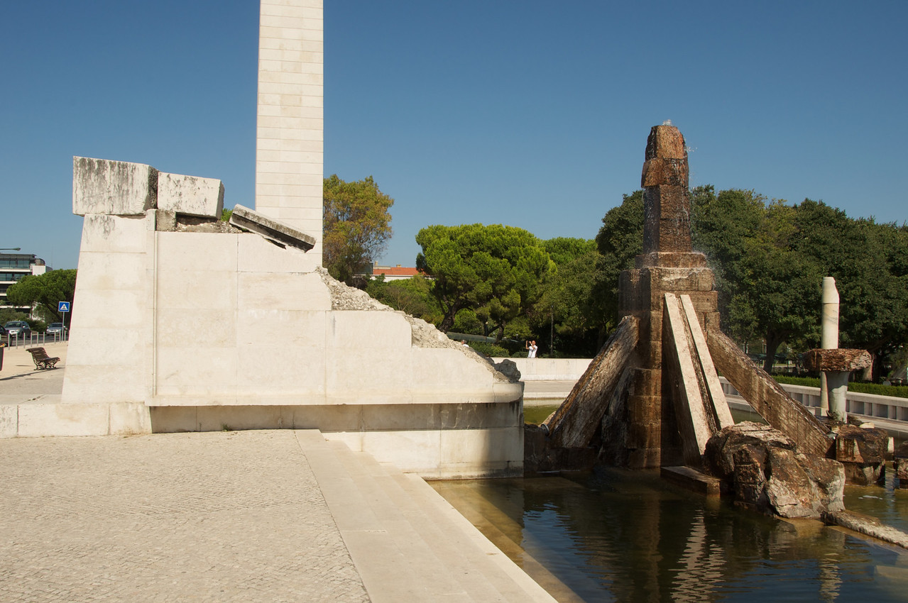 Broken Monument (Left)…Broken Pieces Used To Create Water Feature (Right)…Water Symbolizes Rebirth