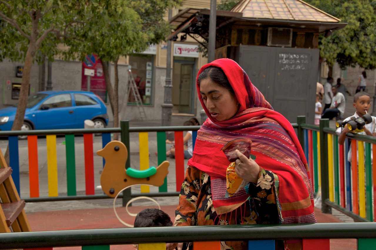 Local on Plaza Playground With Her Children…Judaria Area Now A Very Mixed Population