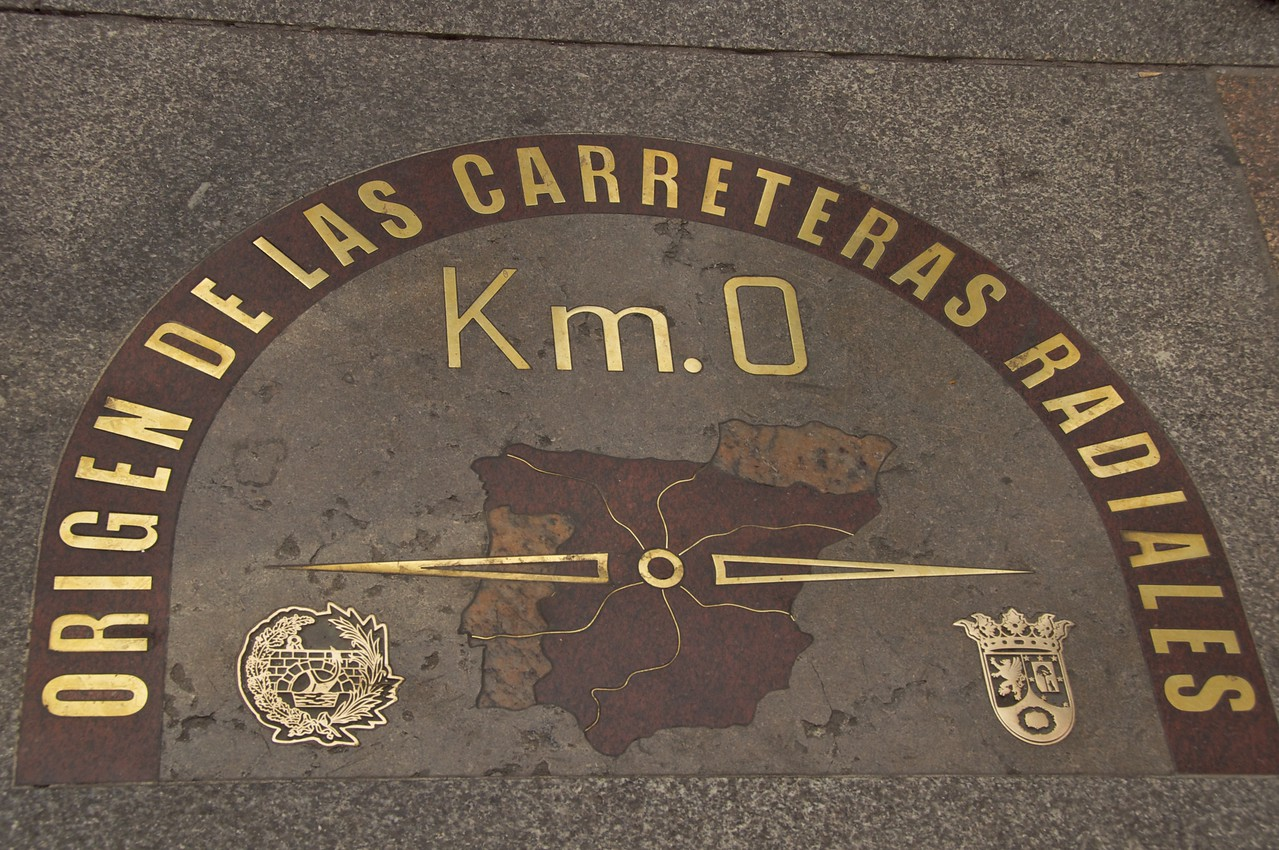 The kilómetro cero (kilometre zero) on the pavement in front of the House of the Post Office…Everything in Spain is Measured From Madrid